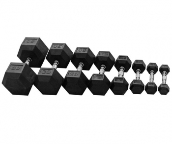 Black Rubber Hex Dumbbells